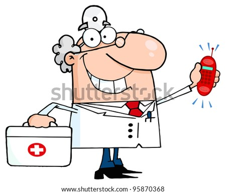 Smiling Male Doctor With A First Aid Kit And Phone Ringing.Vector Illustration - stock vector