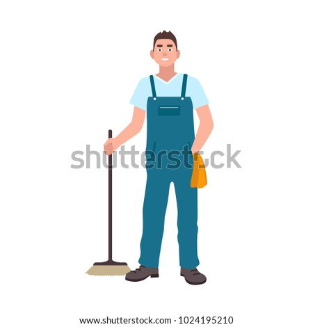 Smiling man dressed in dungarees holding scrubber isolated on white background. Male cleaning service worker with floor brush. Janitor, cleaner or sweeper. Flat cartoon colorful vector illustration.