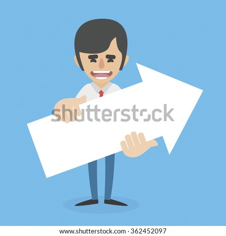 Smiling man holding Up arrow