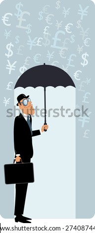 Smiling man in a bowler hat and with a briefcase hiding under an umbrella from the rain of currency symbols, vector illustration, no transparencies, EPS 8 - stock vector