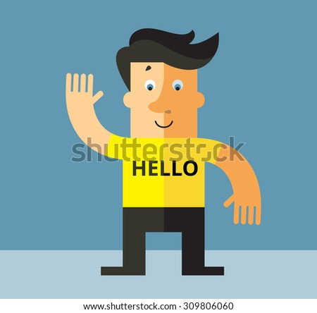 Smiling Man Saying Hello And Showing Greeting Gesture. Flat style vector illustration - stock vector