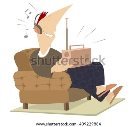 Smiling man sits in an armchair and listens the radio - stock vector