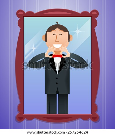 Smiling man straightens his tie in front of the mirror - stock vector