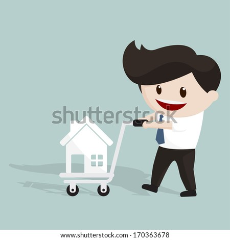 Smiling man using trolley to transport home icon - stock vector