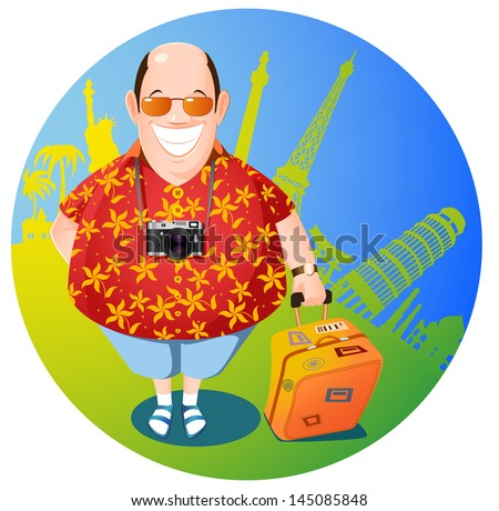 smiling man with a suitcase - stock vector