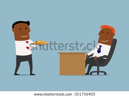 Smiling manager bringing golden coins on tray to his boss. Cartoon concept design