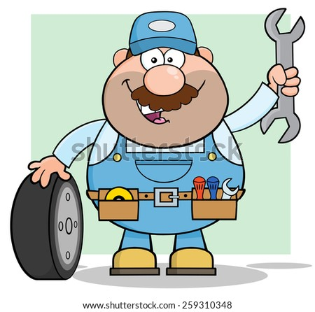 Smiling Mechanic Cartoon Character With Tire And Huge Wrench. Vector Illustration With Background - stock vector