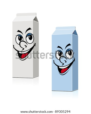 Smiling milk and juice containers in cartoon style for food design. Jpeg version also available in gallery - stock vector