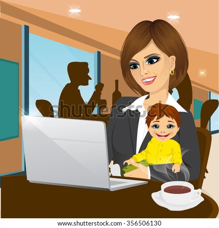 smiling mother working on laptop in cafe while holding little baby boy - stock vector