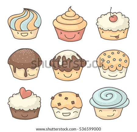 Smiling muffins or cupcakes childish drawings collection. Each with different facial expression.