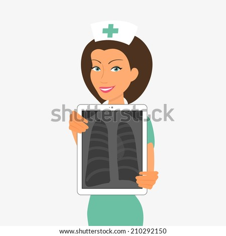Smiling nurse hjlding tablet pc with x-ray - stock vector