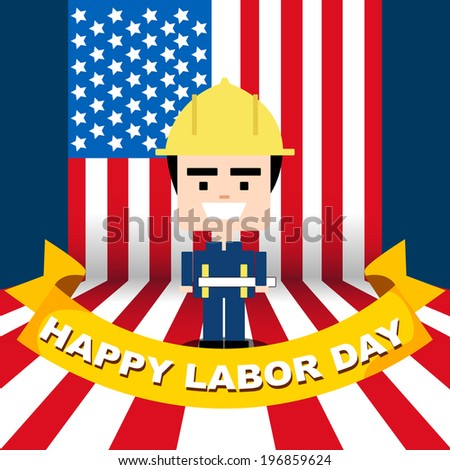 Smiling on Labor day - stock vector