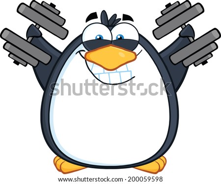 Smiling Penguin Cartoon Mascot Character Training With Dumbbells - stock vector