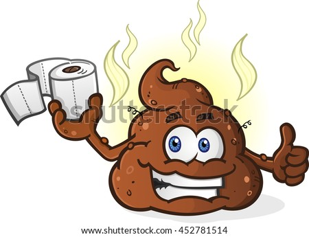 Smiling Pile of Poop Cartoon Character Holding Toilet Paper and Giving a Thumbs Up - stock vector