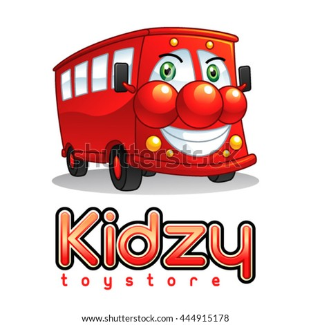 Smiling Red Bus Mascot Character. Suitable for toy store and kids playground. - stock vector