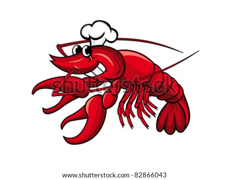 Smiling red crayfish or shrimp isolated on white, such a logo. Rasterized version also available in gallery - stock vector
