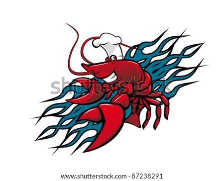 """Smiling red prawn in cartoon style for tattoo design. Rasterized version also available in gallery""""r - stock vector"""