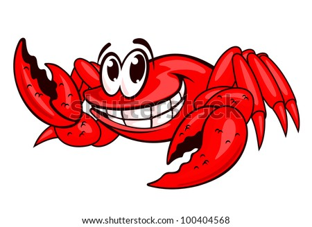 Smiling red sea crab with claws. Vector illustration - stock vector