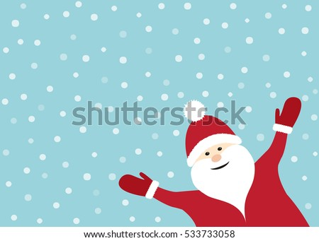 Smiling Santa Claus on blue background with snowflakes. Vector.