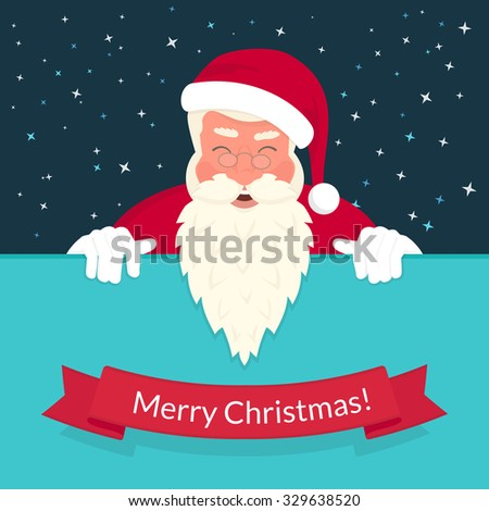 Smiling Santa Claus wearing red hat and glasses and ribbon with merry chrismas text. Greeting card or flyer template design with copy space - stock vector