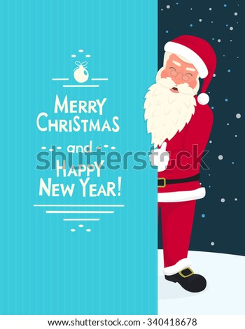 Smiling Santa Claus wearing red hat and glasses holds a banner with merry chrisms and happy new year text. Greeting card or flyer template design with copy space - stock vector