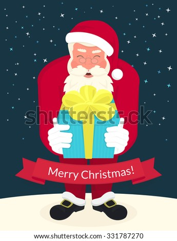 Smiling Santa Claus wearing red hat and glasses holds a gift in his hands and ribbon with merry chrismas text below. Greeting card or flyer template design - stock vector