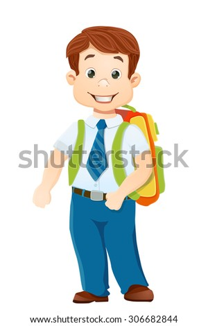 smiling school boy with backpack on white. vector cartoon illustration - stock vector