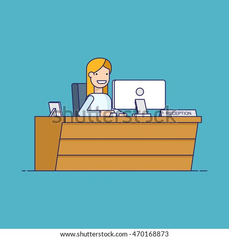 Smiling secretary sitting at a computer in the reception. Happy woman waits for customers at the workplace. Thin line vector character in flat style isolated on blue background.