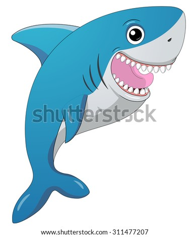 Smiling shark.Cartoon vector.