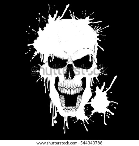 Smiling skull made by white paint. Vector illustration