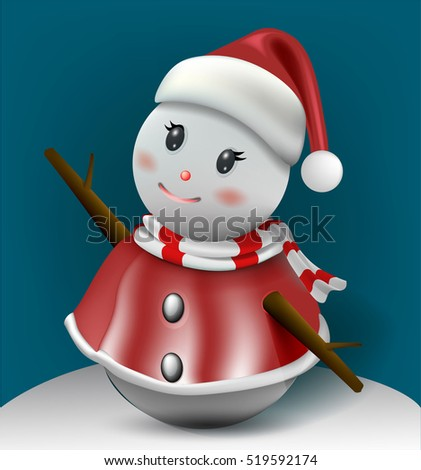 Smiling snowman, High detailed vector illustration