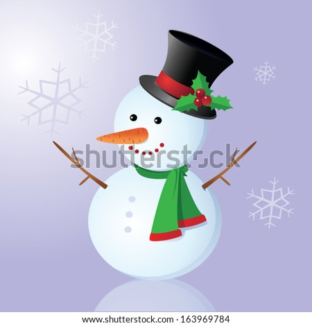 Smiling snowman. Vector illustration of a snowman on snowflakes background.
