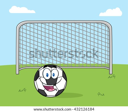 Smiling Soccer Ball Cartoon Mascot Character With Football Gate. Vector Illustration With Background - stock vector
