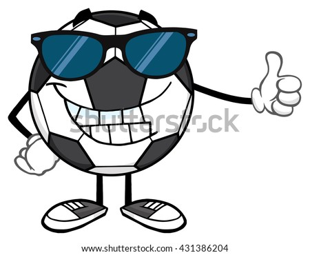 Smiling Soccer Ball Cartoon Mascot Character With Sunglasses Giving A Thumb Up. Vector Illustration Isolated On White Background - stock vector