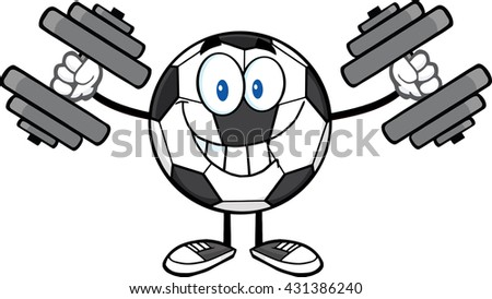 Smiling Soccer Ball Cartoon Mascot Character Working Out With Dumbbells. Vector Illustration Isolated On White Background - stock vector