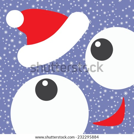 Smiling square funny face in red santa hat. Colorful Christmas and New Year background. Holiday background. - stock vector