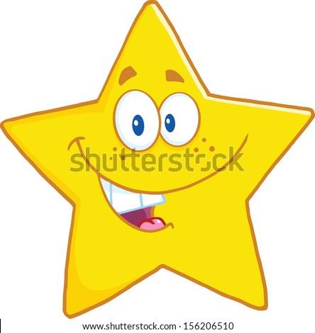 Smiling Star Cartoon Mascot Character - stock vector