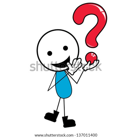 Stick Figure Action Stickman Question Mark Stock Vector ...