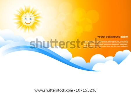 Smiling sun background - stock vector