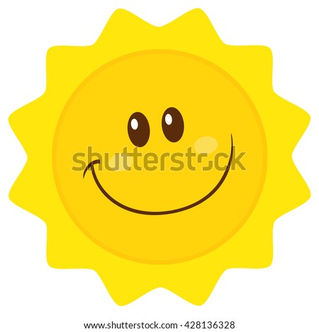 Smiling Sun Cartoon Mascot Character Simple Flat Design. Vector Illustration Isolated On White Background - stock vector