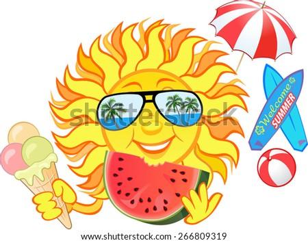smiling sun eating ice cream watermelon stock vector 266809319 rh shutterstock com Half Sun Vector Half Sun Vector