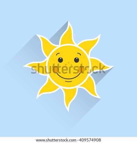 smiling sun on a blue background - stock vector