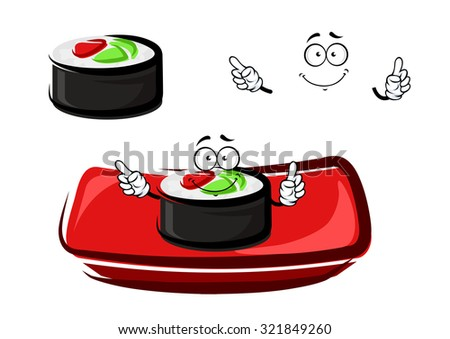 Smiling sushi roll cartoon character with smoked salmon and rice, served on red rectangular plate. For seafood restaurant menu theme