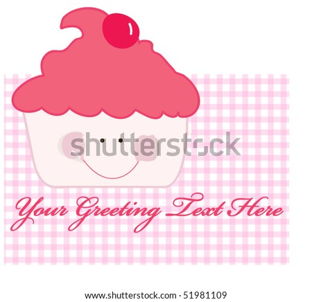 smiling sweet cup cake - stock vector