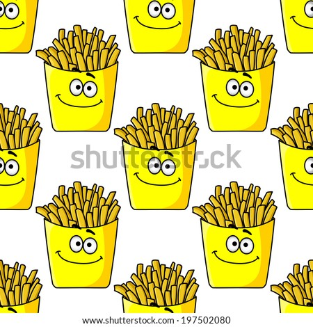 Smiling takeaway packets of French fries in a yellow seamless background pattern in square format - stock vector
