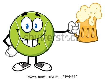 Smiling Tennis Ball Cartoon Character Holding A Beer. Vector Illustration Isolated On White - stock vector
