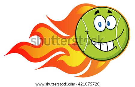 Smiling Tennis Ball Cartoon Character With A Trail Of Flames. Vector Illustration Isolated On White