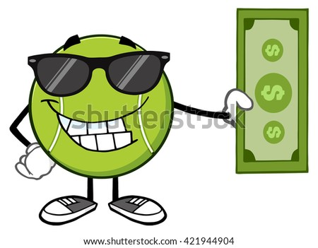 Smiling Tennis Ball Cartoon Mascot Character With Sunglasses Holding A Dollar Bill. Vector Illustration Isolated On White - stock vector