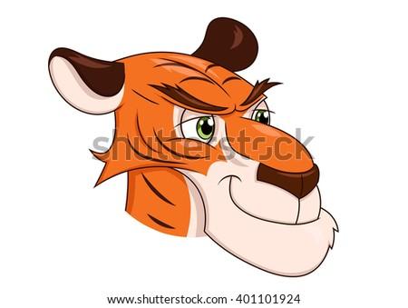 Smiling tiger head 2 - stock vector