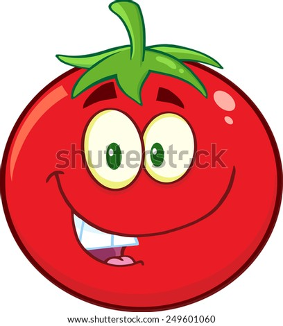 Smiling Tomato Cartoon Mascot Character. Vector Illustration Isolated On White - stock vector